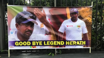 Banners were put up for Rangana Herath before his Test farewell