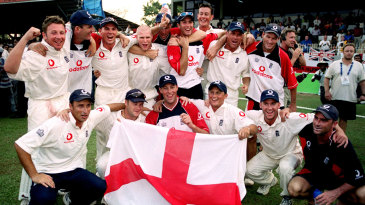 England pose for photos after winning the series 2-1