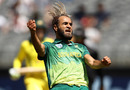Imran Tahir celebrates the wicket of Alex Carey, game one of the Gillette One Day International series, Australia v South Africa at Optus Stadium, November 04, 2018 in Perth, Australia.