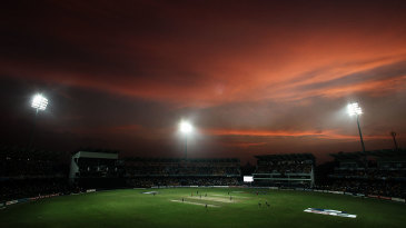 A general view of the R Premadasa Stadium under lights