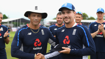 Rory Burns receives his first Test cap from Mark Ramprakash