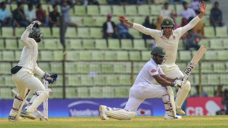 Imrul Kayes was bowled around his legs