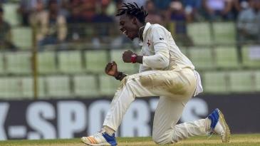 Brandon Mavuta exults after taking a wicket