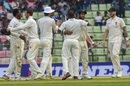 Kyle Jarvis joins his victorious teammates as they celebrate, Bangladesh v Zimbabwe, 1st Test, Sylhet, 4th day, November 6, 2018