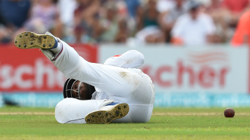 Kusal Mendis fails to hold on to a catch at short leg