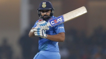 Rohit Sharma swivels into a pull