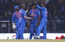 Khaleel Ahmed is mobbed by his team-mates, India v West Indies, 2nd T20I, Lucknow, November 6, 2018