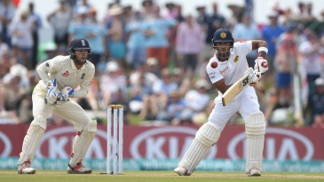 Dinesh Chandimal plays the ball square