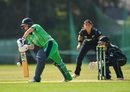 Laura Delany gets forward to block, Ireland v New Zealand, 1st ODI, Dublin, June 8, 2018
