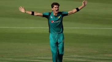 Shaheen Afridi roars after taking a wicket