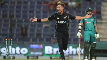Trent Boult is thrilled after taking a wicket