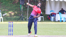 Anantha Krishna spins through his delivery, Singapore v USA, ICC World Cricket League Division Three, Kampala, May 26, 2017