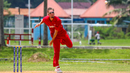Nicolaj Laegsgaard sends down a delivery, Denmark v Malaysia, ICC World Cricket League Division Four, Bangi, May 2, 2018