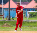 Nicolaj Laegsgaard erupts after taking a wicket, Denmark v Malaysia, ICC World Cricket League Division Four, Bangi, May 2, 2018