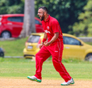 Bashir Shah roars in delight after claiming a wicket, Denmark v Malaysia, ICC World Cricket League Division Four, Bangi, May 2, 2018