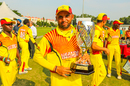 Irfan Afridi holds the spoils of victory after helping Uganda win WCL Division Four, Jersey v Uganda, ICC World Cricket League Division Four, Bangi, May 6, 2018