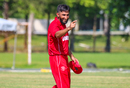 Denmark captain Hamid Shah points victoriously toward the coaching staff after the win, Denmark v Malaysia, ICC World Cricket League Division Four, Bangi, May 2, 2018