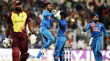Not my first rodeo: In his maiden T20I, Krunal Pandya took the wicket of Kieron Pollard and scored a nine-ball 21