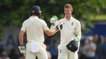 Keaton Jennings is congratulated by Jos Buttler after reaching his second Test hundred
