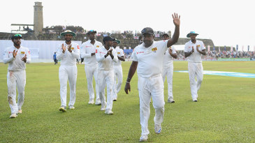 Rangana Herath leaves the field after his final spell as a Test bowler