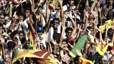 Spectators at the Premadasa cheer for Sri Lanka