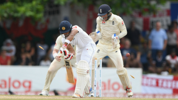 Dinesh Chandimal is bowled by Jack Leach