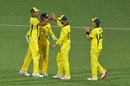 Mitchell Starc, Alex Carey, Chris Lynn and Adam Zampa celebrate Australia's win, Australia v South Africa, 2nd ODI, Adelaide, November 9, 2018