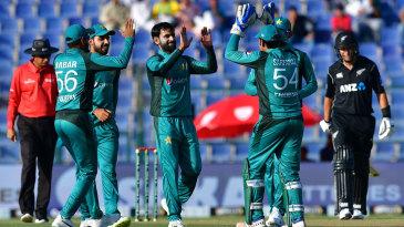 Mohammad Hafeez celebrates a wicket