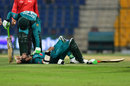 Fakhar Zaman checks on Imam-ul-Haq after he was struck by a bouncer, Pakistan v New Zealand, 2nd ODI, Abu Dhabi, November 9, 2018