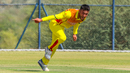 Riazat Ali Shah appeals for a wicket during his opening spell, Denmark v Uganda, ICC World Cricket League Division Three, Al Amerat, November 9, 2018