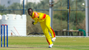 Henry Ssenyondo kept things tight during his spell, Denmark v Uganda, ICC World Cricket League Division Three, Al Amerat, November 9, 2018