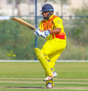Ronak Patel pulls behind square for a boundary, Denmark v Uganda, ICC World Cricket League Division Three, Al Amerat, November 9, 2018