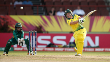 Alyssa Healy hits the ball through the off side