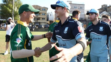 Steven Smith and David Warner shake hands at the end of a club match