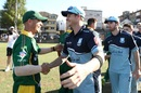 Steven Smith and David Warner shake hands at the end of a club match, Sutherland v Randwick-Petersham, Coogee Oval, Sydney, November 10, 2018
