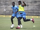 Sherfane Rutherford and Oshane Thomas engage in some football, Chennai, November 10, 2018