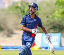 Monank Patel lets out a roar after bringing up his century, Uganda v USA, ICC World Cricket League Division Three, Al Amerat, November 10, 2018
