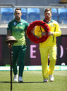 There was a ceremony to mark Armistice Day before the start of the third ODI, Australia v South Africa, 3rd ODI, Hobart, November 11, 2018