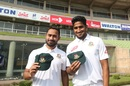 Mohammad Mithun and Khaled Ahmed pose with their Test caps on debut, Bangladesh v Zimbabwe, 2nd Test, Dhaka, 1st day, November 11, 2018