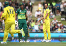 Mitchell Starc is all smiles after Aiden Markram edged one, Australia v South Africa, 3rd ODI, Hobart, November 11, 2018
