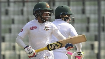 Mominul Haque and Mushfiqur Rahim take a run