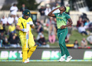 Lungi Ngidi celebrates after accounting for Aaron Finch, Australia v South Africa, 3rd ODI, Hobart, November 11, 2018