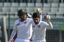 Mushfiqur Rahim congratulates Mominul Haque on bringing up his hundred, Bangladesh v Zimbabwe, 2nd Test, Dhaka, 1st day, November 11, 2018