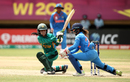 Javeria Khan tries to sweep, India v Pakistan, Women's World T20, Group B, Guyana, November 11, 2018