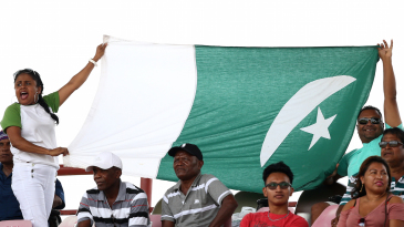 Fans display the Pakistan flag in Providence