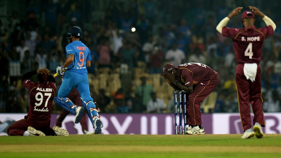 West Indies players were devastated after India sneaked a last-ball win