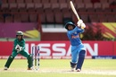 Mithali Raj goes over cover as Sidra Nawaz watches, India v Pakistan, Women's World T20, Guyana, Group B, November 11, 2018