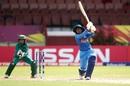 Mithali Raj goes over cover as Sidra Nawaz watches, India v Pakistan, Women's World T20, Guyana, Group B, November 11, 2018