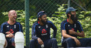 Jack Leach, Adil Rashid and Moeen Ali share a joke at training, Pallekele, November 12, 2018