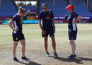 Heather Knight, Mark Robinson and Anya Shrubsole inspect the outfield, England v Bangladesh, Women's World T20, Group A, St Lucia, November 12, 2018